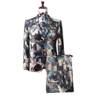 Brand Floral Print Suit Jackets + Pants 3d Print Party Show Male Dinner Suit Wear