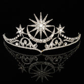 Bride Star Moon Queen Crystal Crown Tiara Wedding Bridal Party Prom Headband Hair Jewelry