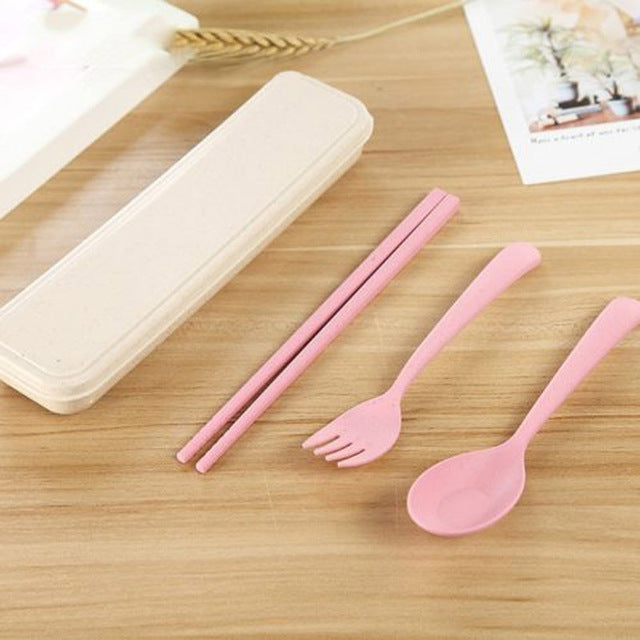 3 Pcs Spoon Fork Chopsticks Set Portable Reusable Travel Wheat Straw Tableware Cutlery