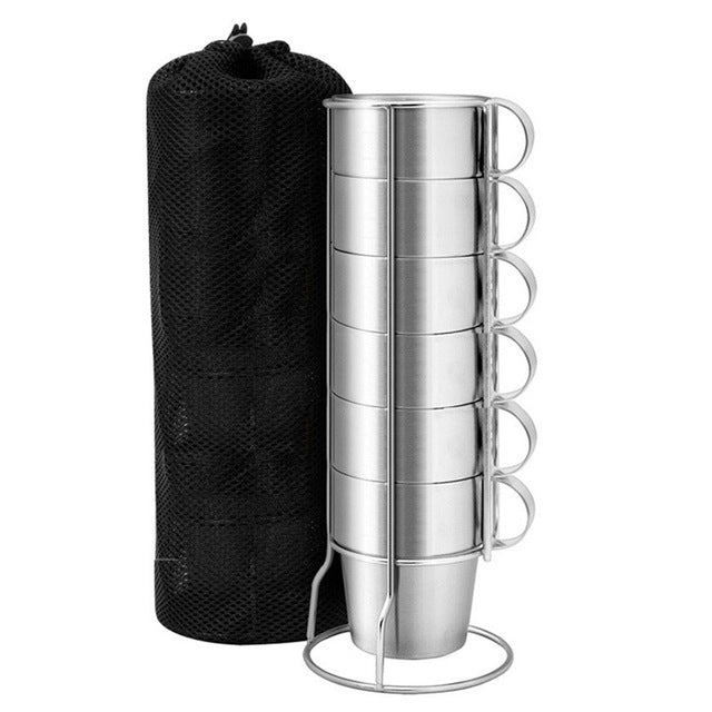 6 Pcs/set Stainless Steel Insulated Cups Coffee Mugs Double Layer Heat Insulation Kit Fp8
