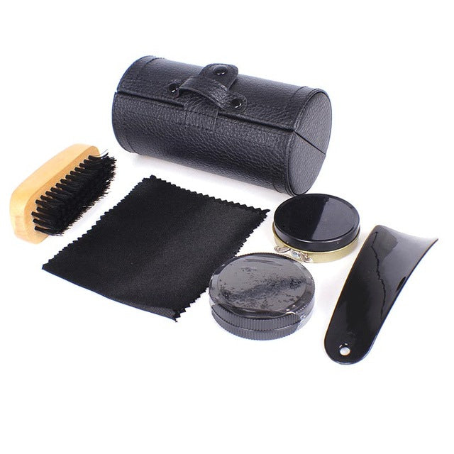 6pcs/set Portable Travel Shoes Shine Kit Shoehorn Wooden Brushes Leather Care Men Shoes Smooth Cleaning Polish Tools Fp8