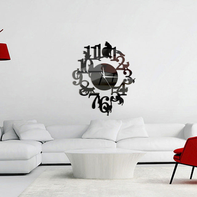 Cat Design Diy Wall Clock Digital Quartz Acrylic Wall Living Room 3d Home Decor Fp8