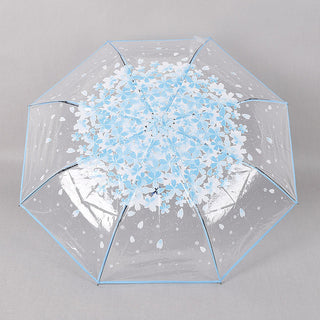 Clear Rain Sun Umbrella Women Transparent Folding Romantic Sakura Cherry Flower Umbrellas Fp8