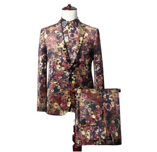 Brand Male Floral Print Party Show Suit Jackets + Pants 3d Digital Print Male Dinner Suit