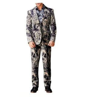 Brand Male Digital Floral Print Suit Jackets + Pants 3d Print Party Show Male Dinner Suit