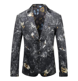 Brand Ice Floral Print Suit Jackets + Pants 3d Print Party Show Male Dinner Suit Wear