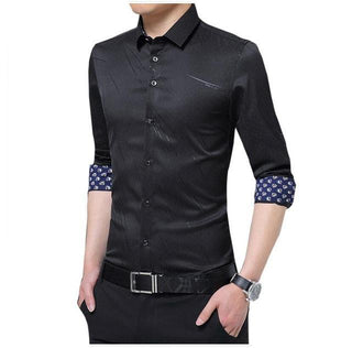 Autumn Spring Dress Shirts Print Single Breasted Shirts Men Thin Formal Party Shirts Men