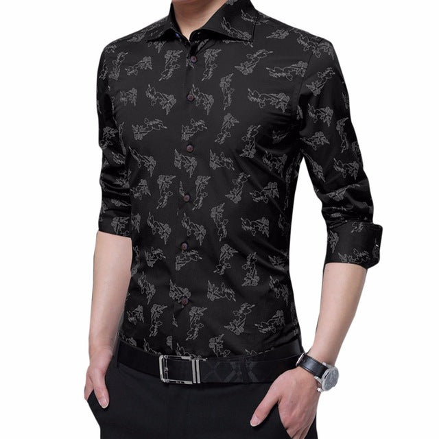 Business Dress Shirts Single Breasted Print Shirts Men Turn-down Collar Casual Shirts Formal Party Shirts Men