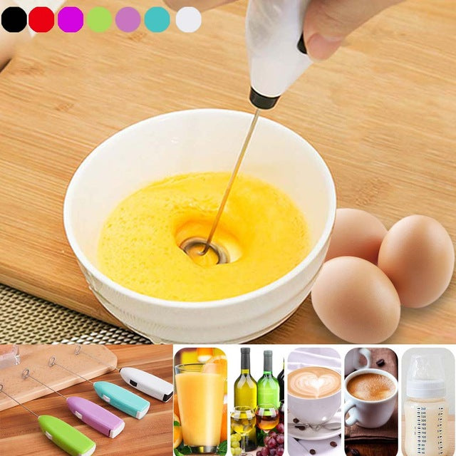 Drinks Milk Frother Foamer Whisk Mixer Stirrer Egg Beater Electric Mini Handle Cooking Tools Fp8