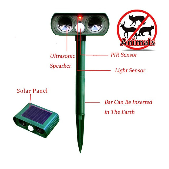 Garden Supplies Ultrasonic Solar Power Pest Animal Repeller Repellent Garden Bat Cats Dogs Foxes Fp8