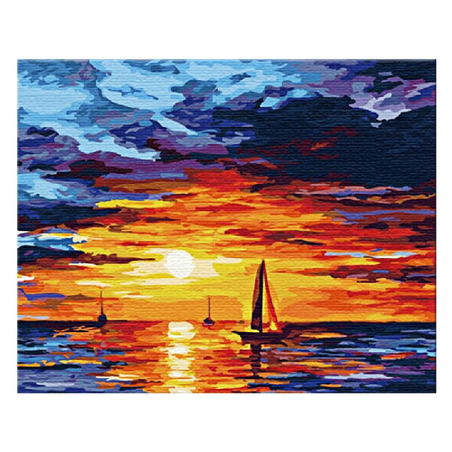 Initial Sunrise Oil Painting Diy Digital Canvas Oil Painting Frameless Artwork Picture For Wall Home Hnadpainted Oil Paintings