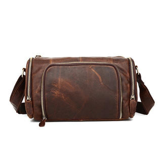 1050 Vintage Casual Genuine Leather Bucket Zipper Slight Crossbody Messenger Ipad Bag For Man