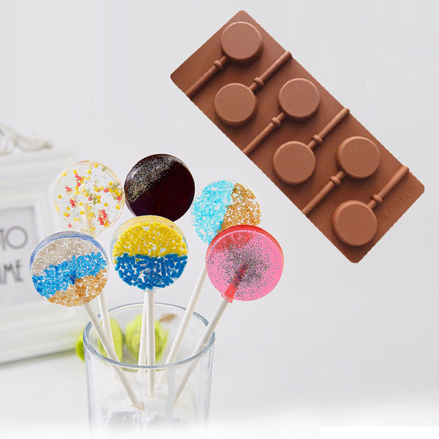 Silicone Round Lollipop Cake Chocolate Soap Pudding Jelly Candy Ice Cookie Biscuit Mold Mould Pan Bakeware