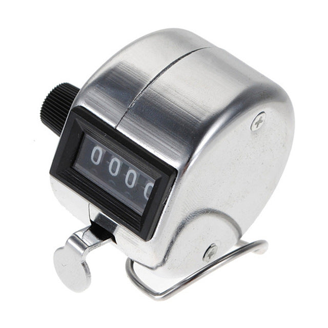 Tally Click Counter Stainless Metal Mini Sport Lap Golf Handheld Manual 4 Digit Number Hand Tally Counter Clicker Silver Color