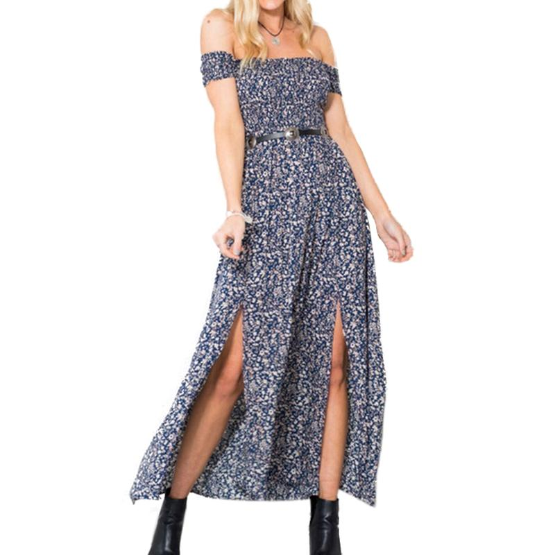 Summer  Plus Size Vintage Women Summer Off Shoulder Print Sexy Dress Club Party Pleated Dresses Open Split Maxi Long Dress - PallMart