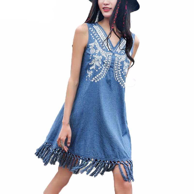 Elegant Embroidery Summer Dress Women Ethnic V-Neck Robe Tassel Denim  Fashion Vintage Sleeveless Dresses - PallMart
