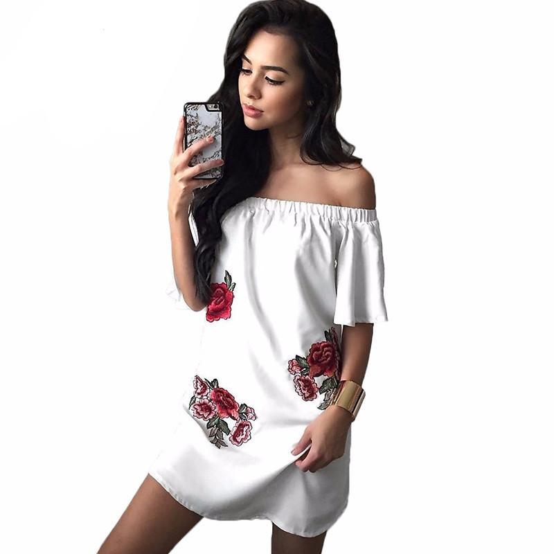 Off Shoulder White Floral Embroidery Women Dress Loose Summer Style  Beach Slash Neck Dresses Party Sexy Girls Mini
