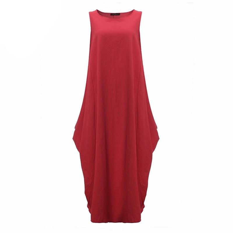 Women Summer Fashion Vintage Elegant Solid Sleeveless Dress Linen Casual Loose Long Maxi Dresses Plus Size - PallMart