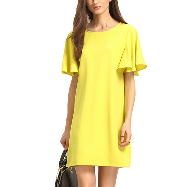Woman Casual Straight Dresses Summer Style Women Ladies Yellow Short Sleeve Crew Neck Shift Dress - PallMart