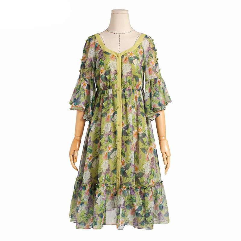 Spring Floral Printed Chiffon Ruffled Dress Vintage V-Neck Butterfly Sleeve Empire Waist Dress - PallMart
