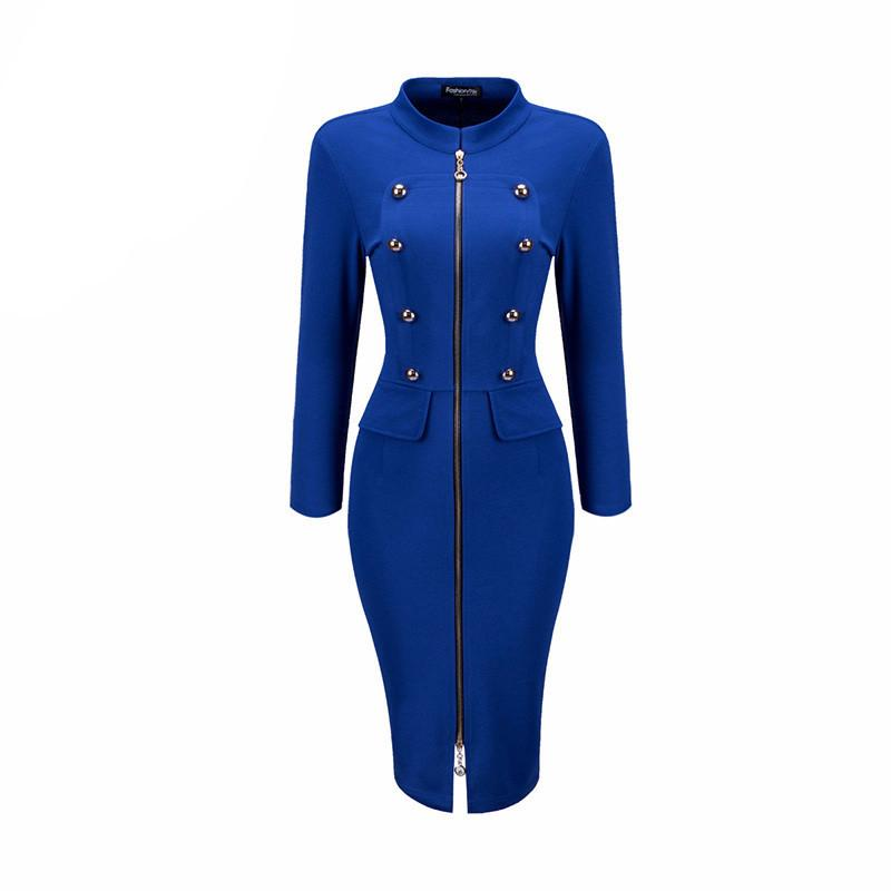 Office Bodycon Dress Woman Solid Color Zipper Front Band Collar Double Breasted Decorative Design Dress Bubblekiss