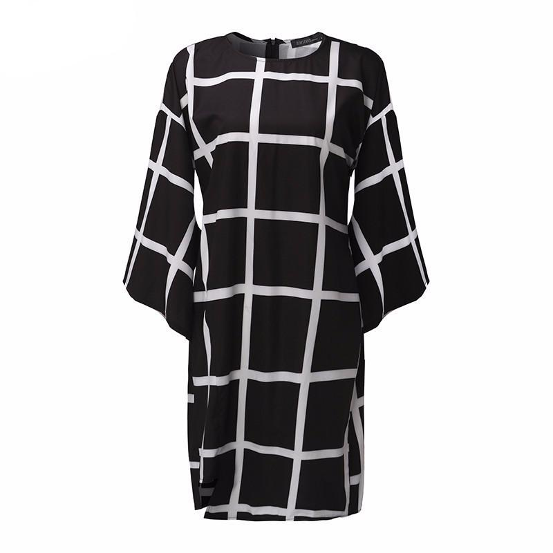 Women Ladies Spring Dress Flare Sleeve O Neck Casual Black White Plaid Back Zipper Casual Loose Mini Dress - PallMart