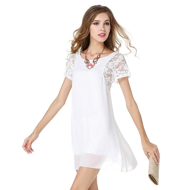 Women Dress Black White Navy Blue Round Neck Short Sleeve Patchwork Chiffon Lace Casual Party Dresses Women - PallMart