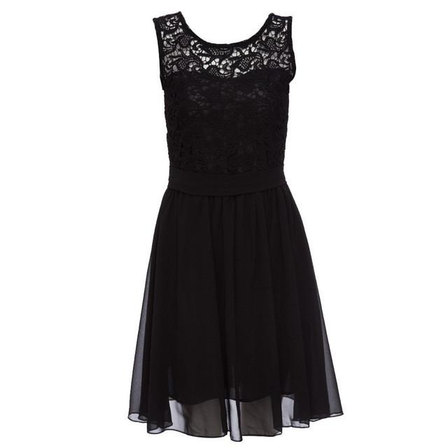 Sexy Elegant Summer Princess Dress Women Floral Black White Lace Chiffon Lace Dress Pleated Party - PallMart