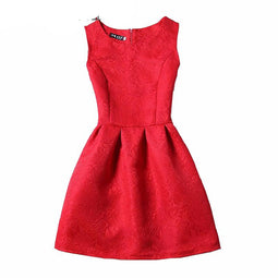 Summer Dress Women Robe Fashion Sexy O-Neck Party Evening Vintage Tank Red Black Dress
