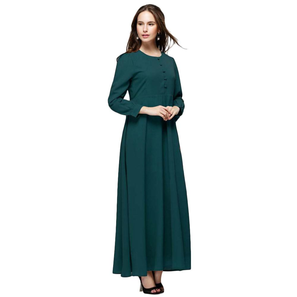 Muslim Long Dress Clothing for Women Long Sleeve Button Design Solid Chiffon Maxi Dresses Muslim Dresses - PallMart
