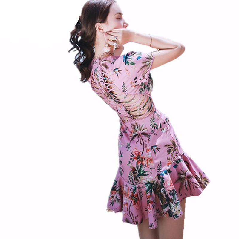 Luxury Runway Woman Pink Tropical Floral Print Lattice Summer Dress Cut Out Crossover Straps Back Lace Trims Short Sleeved - PallMart