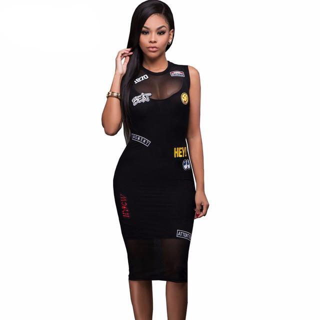 Letter Patch Embroidery Black Dress Sleeveless Tank Mesh Club Party Bodycon Midi Dress Summer Women Sexy Bandage Dress - PallMart