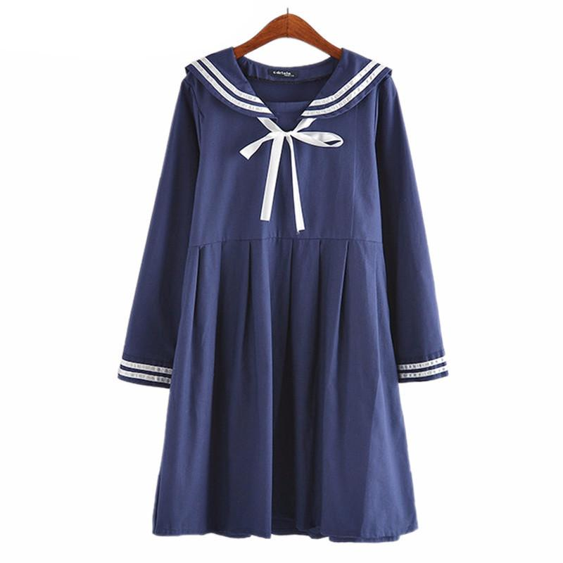 Autumn Summer Women's Dress Female Cotton-Line Japanese Naval College Style Sweet Striped Pure Girls Dress - PallMart