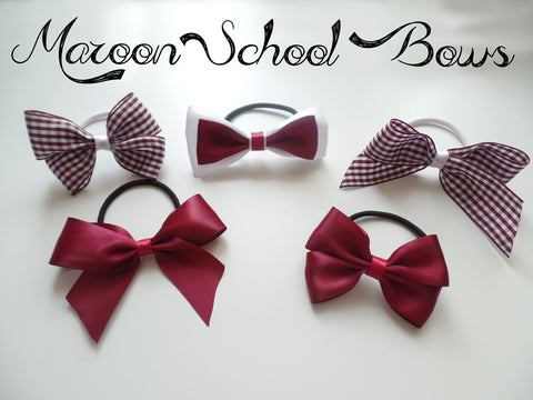 School Maroon School Bows