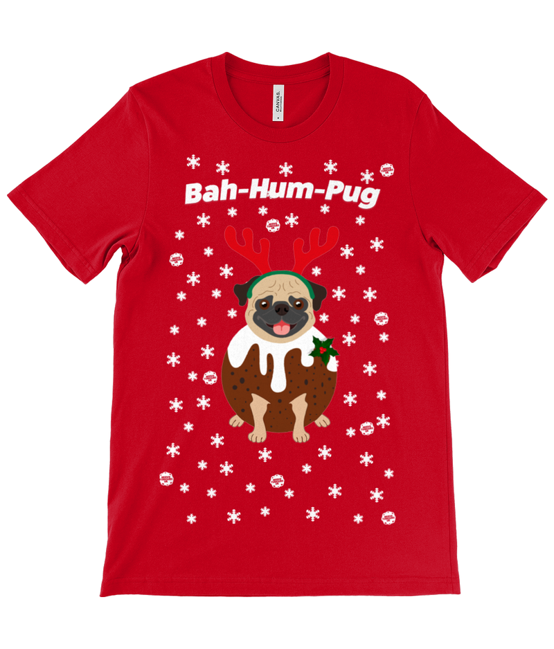 Bah-Hum-Pug Adults Unisex Christmas Crew Neck T-Shirt