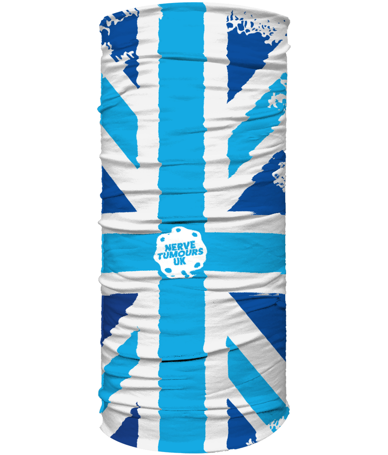 Nerve Tumours UK Multi Use Headband/ Face Covering Large Union Jack - White