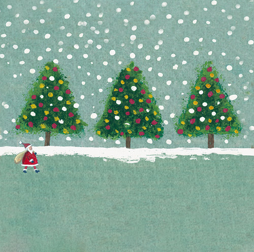 Santa Walking in the Snow Christmas Tree Card