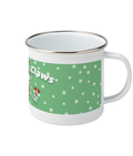 Santa Claws Cat Enamel Christmas Mug