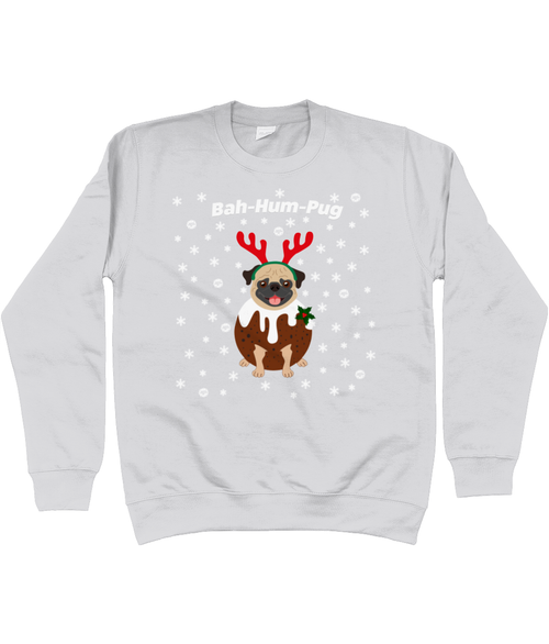 Bah Hum Pug Kids Christmas Jumper