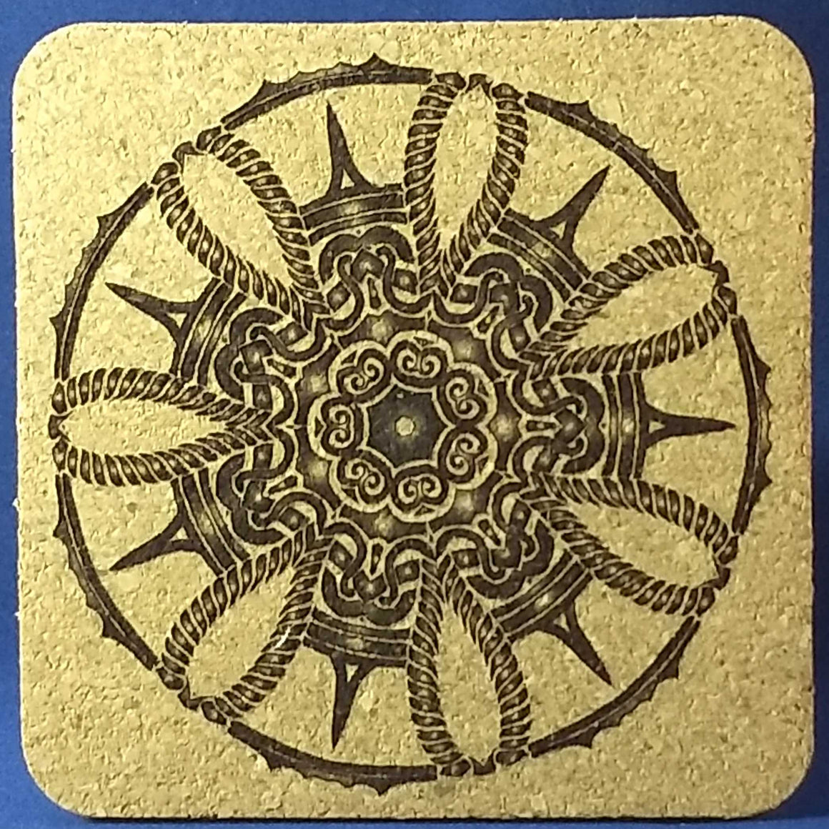 Ancient Wheel Cork Coasters - Set of 4