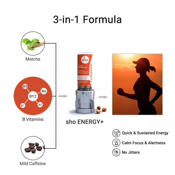 sho energy+ 3-in-1 vitamin b complex matcha green tea extract low dose caffeine