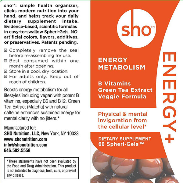 sho ENERGY+: B Vitamins & Matcha - sho Nutrition LLC