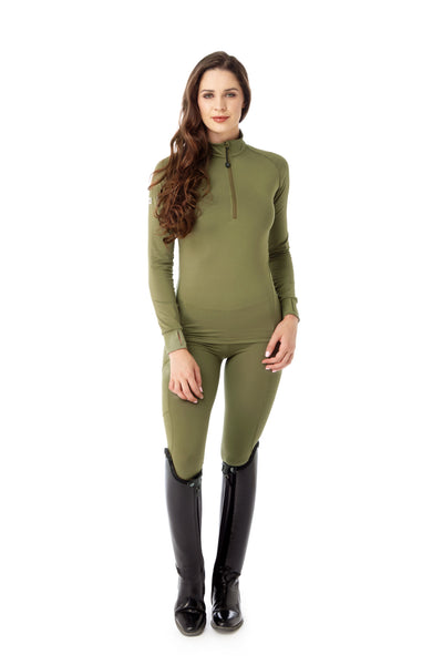 horse riding green base layer