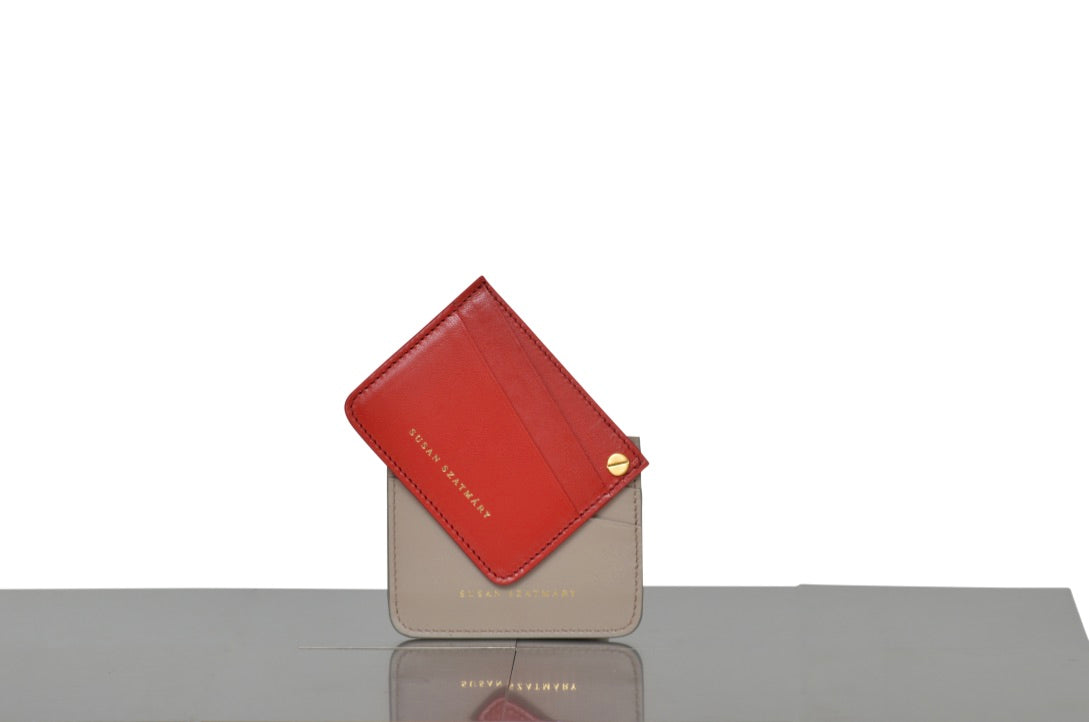 CARD HOLDER SAINT PLACIDE RED AND TAUPE