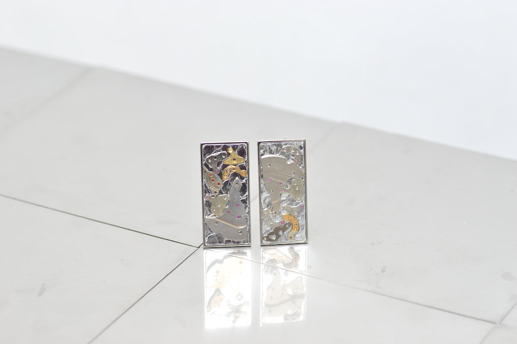 PONT DE L´AMLA SILVER PYTHON AND RECYCKLED METAL SEQUINS EARRINGS