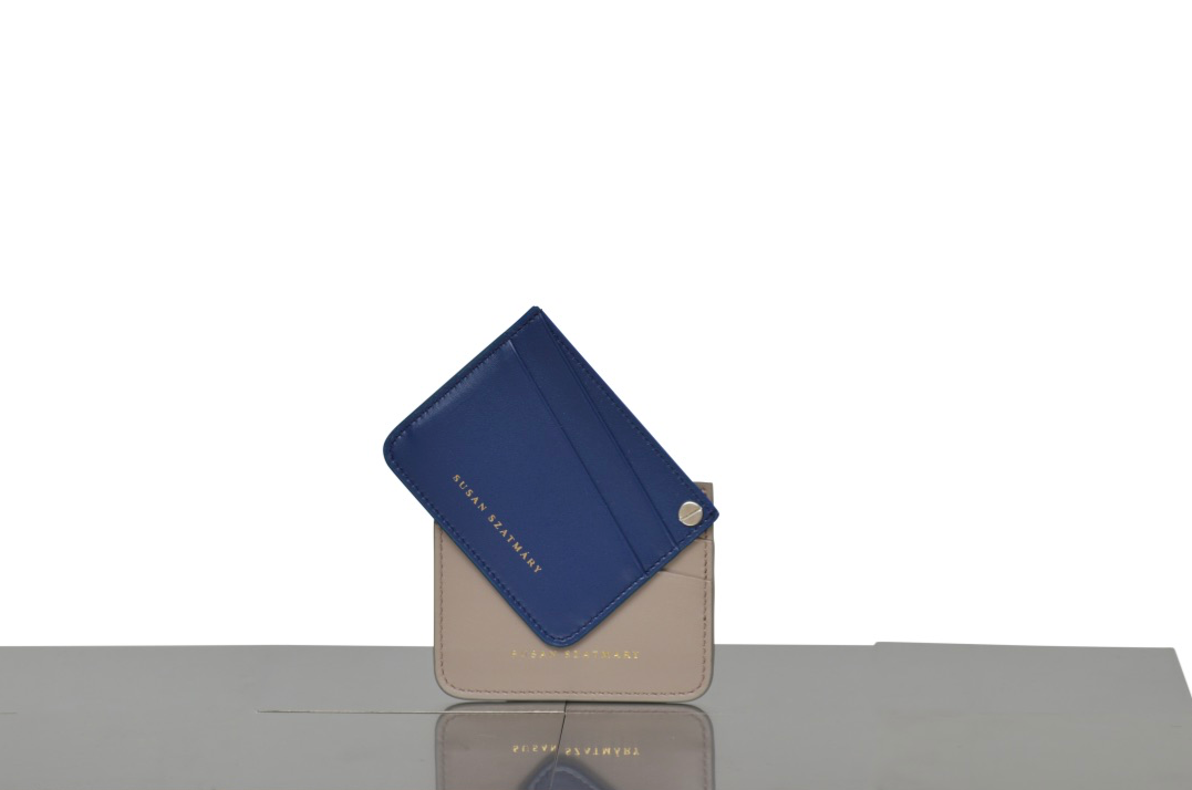CARD HOLDER SAINT PLACID BLUETTE AND TAUPE