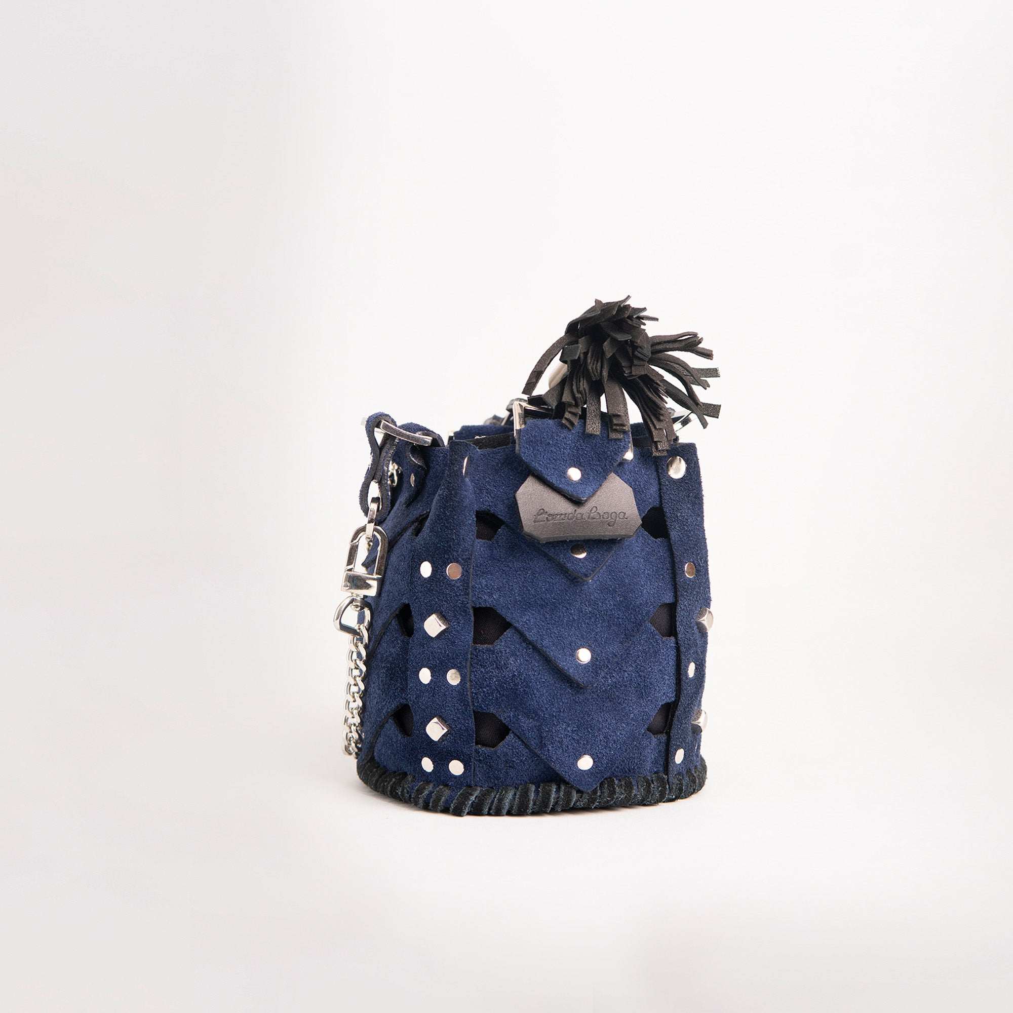 Vertebrae Mini, Navy Blue on Black