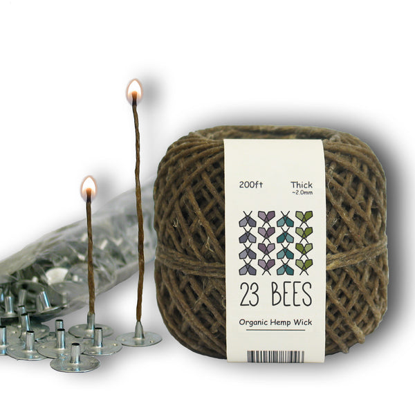2mm Organic Hemp Candle Wick (Beeswax Coated) + Wick Sustainer Tabs