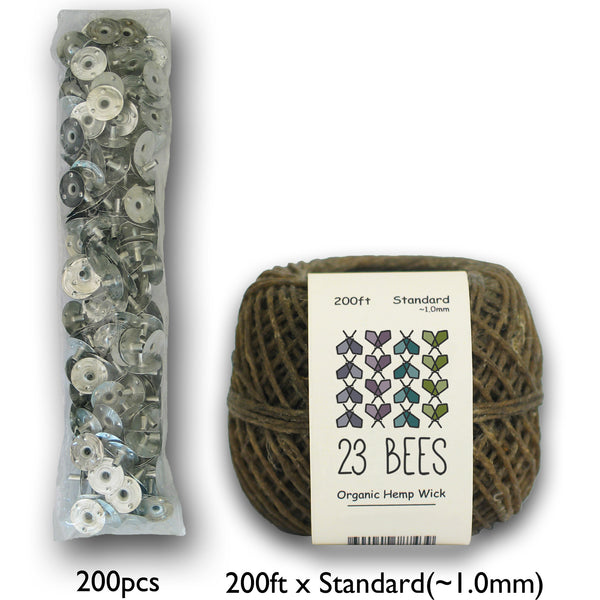 1mm Organic Hemp Candle Wick (Beeswax Coated) + Wick Sustainer Tabs
