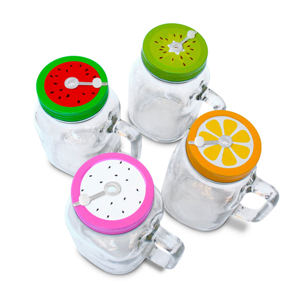 4 x 20oz Mason Jar Mugs with Handles, Fruit Pattern Tin Lids with stoppers and Plastic Straws